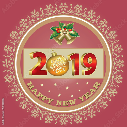 Merry Christmas And Happy New Year 2019 Christmas Banner Circle