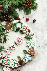 Homemade Christmas new year decorated gingerbread cookies