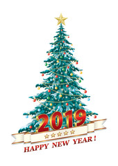 Happy New Year and Merry Christmas  2019 with a festive Christmas tree, white background, date in 3D image