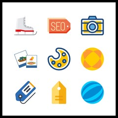 9 hobby icon. Vector illustration hobby set. tag and ball icons for hobby works