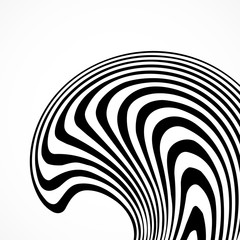 Abstract background with black and white striped, futuristic waves