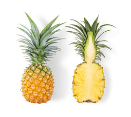 pineapple with slices isolated on white background. top view