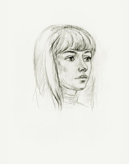 Portrait of a girl with a pencil
