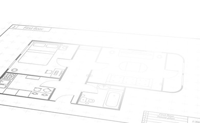 Engineering white scroll with detailed house plan, building blueprint in perspective with text place on white