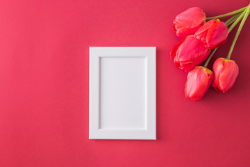 Red tulips and white frame