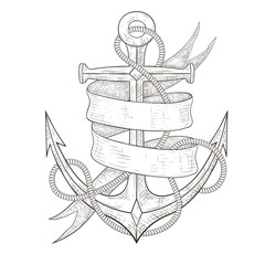 Anchor with ribbon banner and rope. Hand drawn sketch