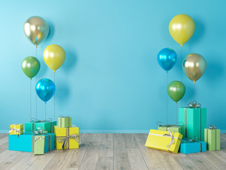 Blue blank wall, colorful interior with gifts, presents, balloons for party, birthday, events. 3d render illustration, mockup.