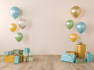 Beige, yellow blank wall, colorful interior with gifts, presents, balloons for party, birthday, events. 3d render illustration, mockup.