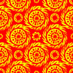 Maslenitsa, Shrovetide. Russian traditional spring holiday. Sun ethnic ornament. Print linocut. Seamless pattern.