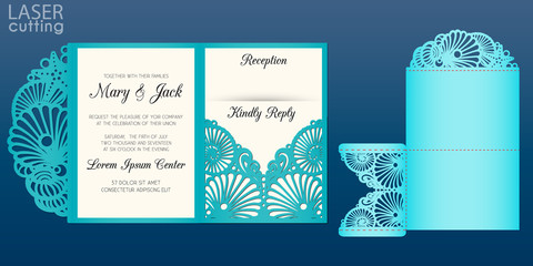 Laser cut wedding invitation card template in marine style, vector. Die cut Tri fold pocket envelope with pattern of seashells. Suitable for greeting cards, invitations, menus.