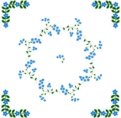 Forget-me-not Folk art elements