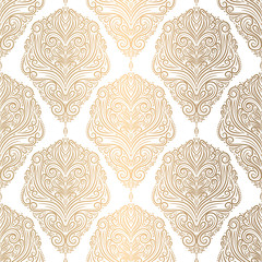 Beautiful gold and white floral seamless pattern. Vintage vector, paisley elements. Traditional, Turkish, Indian motifs. Great for fabric and textile, wallpaper, packaging or any desired idea.