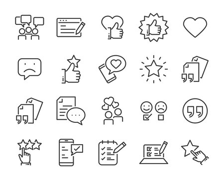 set of feedback line icons, such as, question, review, test, app, emoji, survey