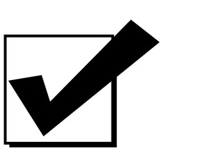 Square and check mark as a symbol of voting or choice