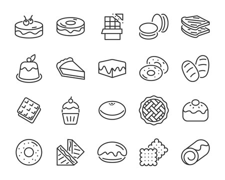 set of bakery icons , such as bake, bread, toast, pie, waffle, pizza, donut, cake