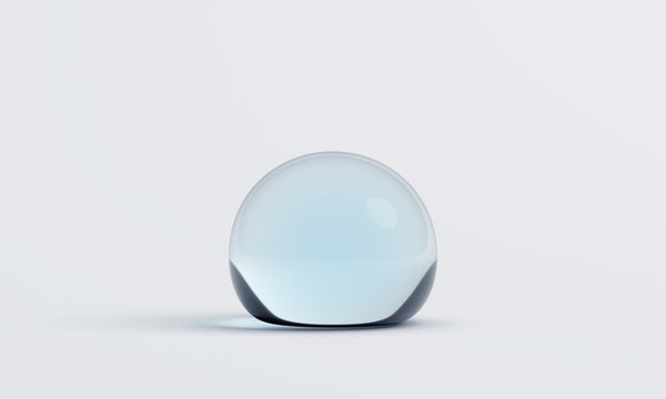 Abstract 3d rendering of water drop. Blob shape on white surface. Minimalistic background design