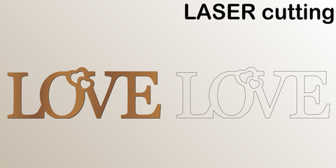 Cut laser letters for interior. Sign 'Love' for laser cutting. Template laser cutting machine for wood and metal. The perfect gift for St. Valentine's Day or Wedding day.