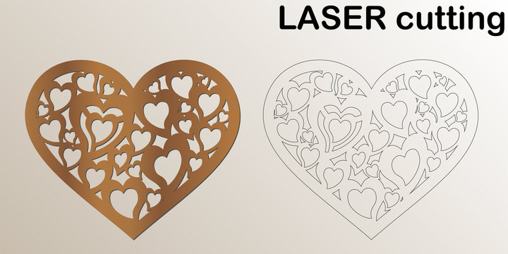 Cut laser letter for interior. Heart shaped for laser cutting. Template laser cutting machine for wood and metal. The perfect gift for St. Valentine's Day or Wedding day.