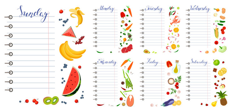 Daily food diary with healthy food