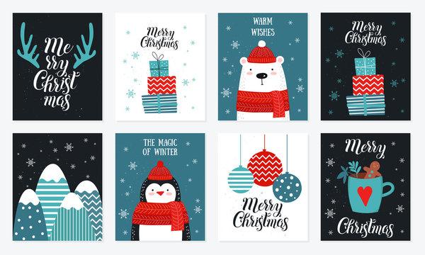 Postcard collection with christmas stuff