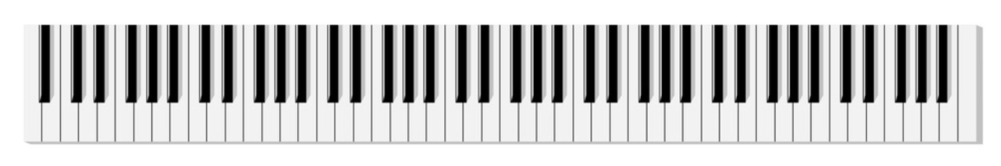 Top view of simplified flat monochrome piano keyboard.
