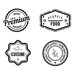 Organic, bio product, vegan food, natural farming, vegeterian labels, shapes. Vector collection of strokes isolated on white background. Abstract design elements set.