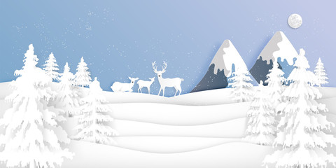 Paper art , cut and digital craft style of Deers in the pine forest in the winter season with trees and snow  as holiday and happy new year concept. vector illustration
