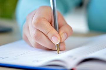 writing in an agenda
