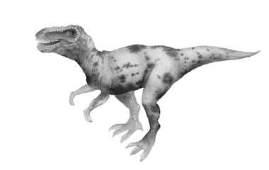 dinosaur, Tyrannosaurus Rex, painted in colors, isolated on white background. the monster, reptile of the Jurassic period.