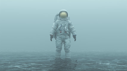 Astronaut with Gold Visor Standing in Water in a Foggy Overcast Environment 3d illustration 3d render
