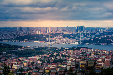 Panoramic view of Istanbul city Asian and European side