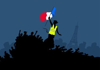 Yellow vests protest movement graphics on cityscape and Eiffel tower. Woman freedom and french flag on the barricade.