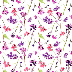 Hand drawn watercolor seamless pattern with meadow small violet and pink flowers and herbs on white background