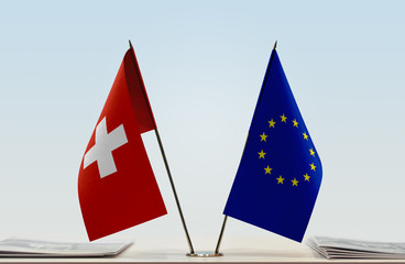 Flags of Switzerland and European Union