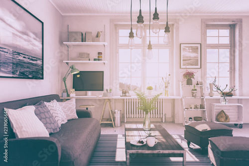 Skandinavische Nordische Wohnung Wohnzimmer Retro Look