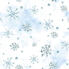 Watercolor winter seamless pattern with snowflakes, hand painted artistic blue texture
