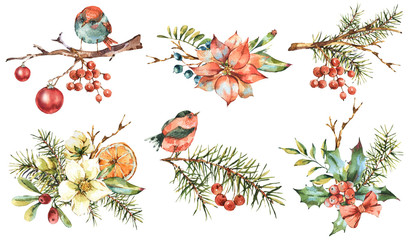 Watercolor set of vintage floral New Year decoration with poinsettia, pine branches, holly, Christmas balls, birds