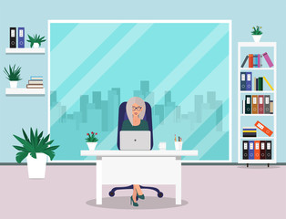 Business woman in office. Beautiful woman sitting at work in office. Manager sitting at table. Office workplace with table, window, desk, chair, coffee cup. Flat style, vector illustration.