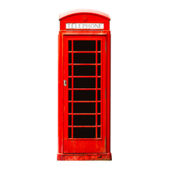 London phone booth isolated on white