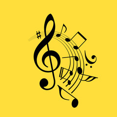 Music notes swirl vector icon