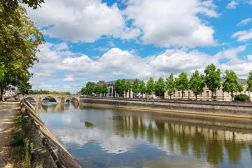 Banks of the Mayenne river, City of Laval, Mayenne, Pays de Loire, France. August 5, 2018