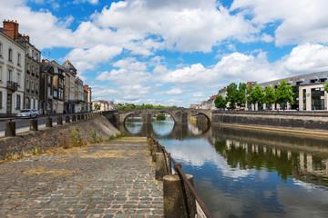 Bridge.Banks of the Mayenne river, City of Laval, Mayenne, Pays de Loire, France. August 5, 2018