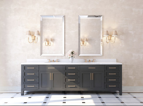 Classic luxury bathroom with marble floor front view