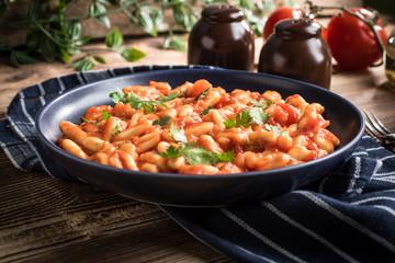 Cavatelli pasta with fresh tomato sauce.