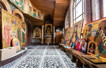 Hall with christian orthodox icons