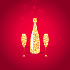 Gold bottle and two glasses of champagne on red background.