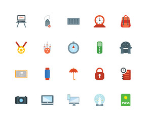 20 icons related to Passport, Snow globe, Devices, Macbook, Camera, Backpack, Switch, Umbrella, Pie chart, Bowling, Server signs. Vector illustration isolated on white background.