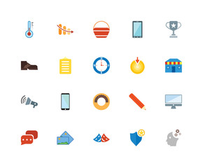 20 icons related to Mind, Shield, Theater, Pictures, Chat, Cup, Target, Doughnut, Megaphone, Clipboard, Shopping bag signs. Vector illustration isolated on white background.