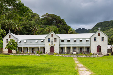 Marist Convent School (est. 1882), a girls school opened by Catholic missionaries and run by nuns, now a co-ed primary school. Levuka town, Ovalau island, Fiji, Melanesia, Oceania. UNESCO heritage.