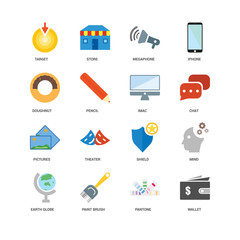 16 icons related to Wallet, Pantone, Paint brush, Earth globe, Mind, Target, Doughnut, Pictures, Imac, undefined, undefined signs. Vector illustration isolated on white background.